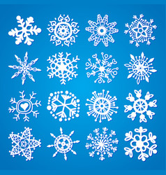 set of snowflakes icons vector image