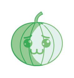 Silhouette kawaii nice shy pumpkin vegetable vector