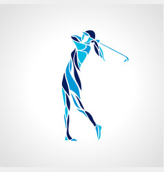 silhouette of woman golf player in blue colors vector image