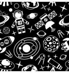 Space black and white seamless pattern vector