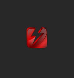 Square 3d logo in red glass or shiny gem broken vector