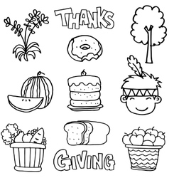 Thanksgiving set hand draw on doodles vector