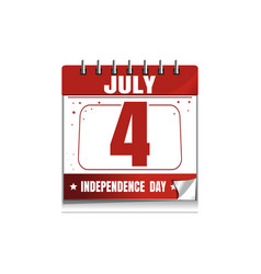 wall calendar 4 th july us independence day vector image vector image