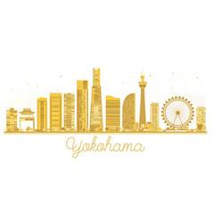 Yokohama japan city skyline golden silhouette vector