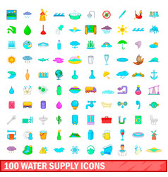 100 water supply icons set cartoon style vector