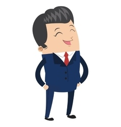 Cute businessman laughing icon vector