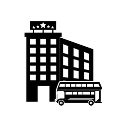 Bus and hotel icon vector