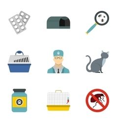Veterinary things icons set flat style vector image