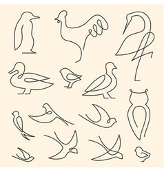 One line birds art logo set vector