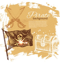 Pirate vintage hand drawn background vector