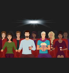 The people watching the movie in the cinema vector