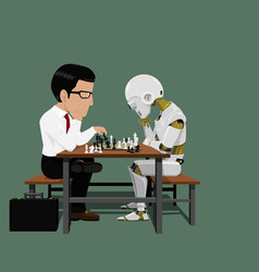 Businessman and robot are playing chess vector