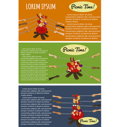 Picnic poster set with human hands around campfire vector