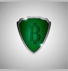 Green shield with bitcoin symbol vector