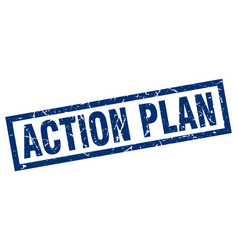 Square grunge blue action plan stamp vector