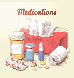 Hand drawn medications pills and tablets doodle vector