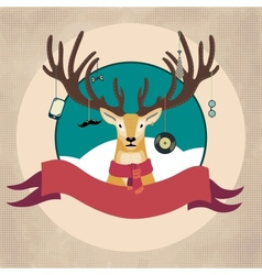Hand drawn of deer hipster in scarf merry vector