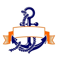 Anchor with a banner symbol vector