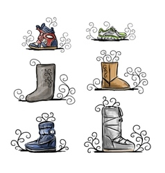 Season shoes collection sketch for your design vector