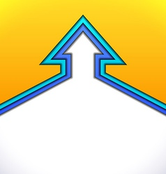 Colorful up arrow with yellow and blue paper vector