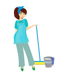 Cartoon character housemaid with broom isol vector