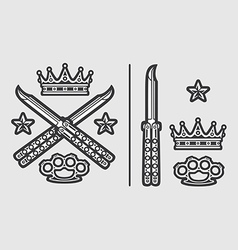 Butterfly knives with brass knuckles crown vector