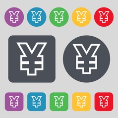 Yen jpy icon sign a set of 12 colored buttons flat vector