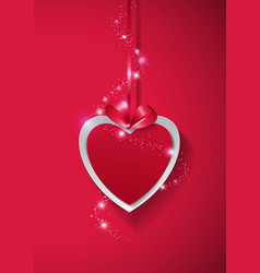 Valentines day paper heart with lights on pink vector