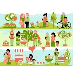 Family people set with landscaping elements vector