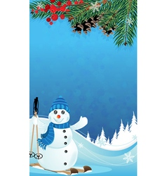 Snowman and spruce branches vector