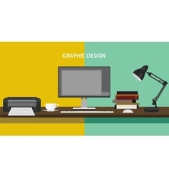 Graphic design profession workdesk monitor printer vector