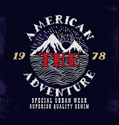 The american adventureprint design vector