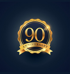 90th anniversary celebration badge label in vector image vector image