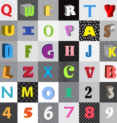 Set of letters in color squares vector