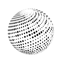 Halftone sphere isolated on white background vector