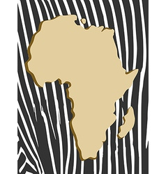 african poster with zebra pattern and map vector image vector image