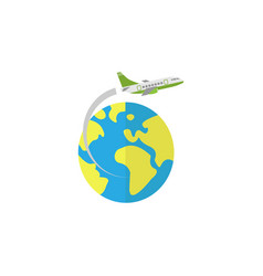 Airplane flying around earth flat icon vector