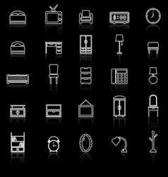 Bedroom line icons with reflect on black vector image vector image