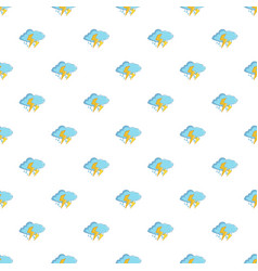Blue cloud with lightnings and rain pattern vector