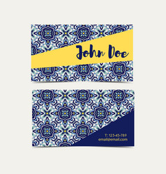 Business card portuguese azulejo vector
