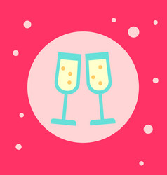 champagne glasses icon on pink background vector image vector image