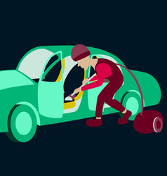 cleaning car interior worker making use of vector image vector image