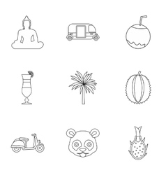 Country thailand icons set outline style vector