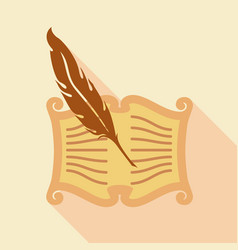 feather writing icon flat style vector image