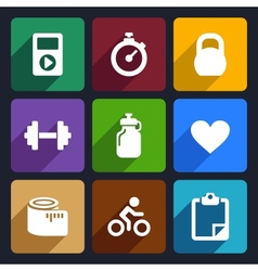 Fitness flat icons set 18 vector