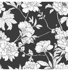 Floral hand drawn seamless pattern with flowers vector