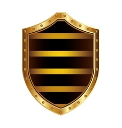 Golden shield with colorful horizontal lines shape vector
