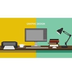 Graphic design profession workdesk monitor printer vector