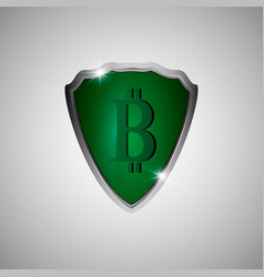 green shield with bitcoin symbol vector image vector image