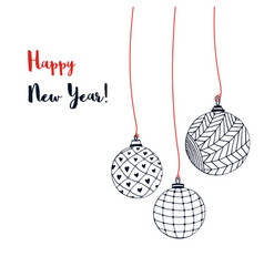 greeting card with christmas balls hand drawn new vector image